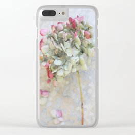 Pastel Pink Hydrangea Clear iPhone Case