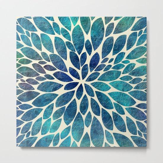 Petal Burst - Turquoise Metal Print