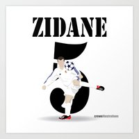 zidane Art Prints featuring Zidane 5 by Crewe Illustrations