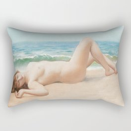Nude On Beach : Nu Sur La Plage By John William Godward Rectangular Pillow