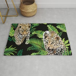 leopards and palm leaves- black Rug