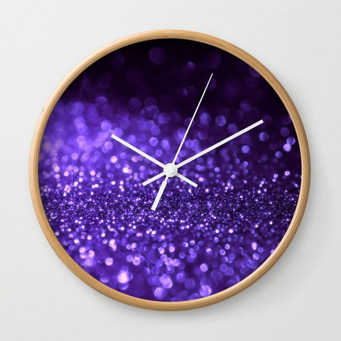 Pantone Color 2018 Ultra Violet Purple Glitter Wall Clock