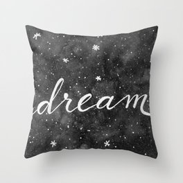Watercolor galaxy dream - black and white Throw Pillow