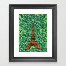 Eiffel Tower Drawing Meditation - orange/green/blue Framed Art Print