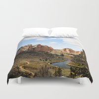 melissa smith Duvet Covers featuring Smith Rock by Sylvia Cook Photography