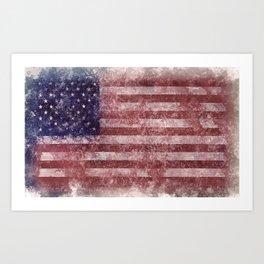 US Flag vintage worn out Art Print