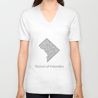 dc V-neck T-shirts featuring DC map by David Zydd