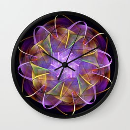 Colorful fractal atom shape Wall Clock