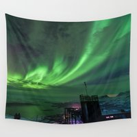 sweden Wall Tapestries featuring Northern Lights Mt Nouljia Sweden by David Williams