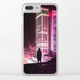 City Hall Rainy Night Clear iPhone Case