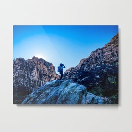 Boys Adventure | Rustic Camping Kid Red Rocks Climbing Explorer Blue Landscape Nursery Photograph Metal Print