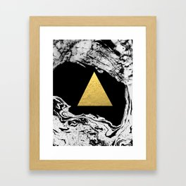Davina - triangle modern minimal marble black and white foil gold abstract painting trendy bklyn  Framed Art Print