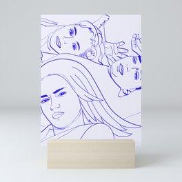 Sisters    #sketch #minimal #drawing Mini Art Print