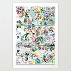 Pretty flowers on wood Art Print