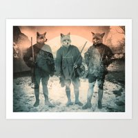 fox Art Prints featuring Fox Hunt by Chase Kunz