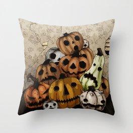 Halloween Pumpkins, a Cornucopia of Jack o' lanterns. spoopy Throw Pillow