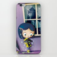 coraline iPhone & iPod Skins featuring It's Coraline not Caroline. by Irene Dose