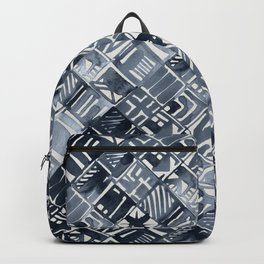 Simply Tribal Tiles in Indigo Blue on Lunar Gray Backpack