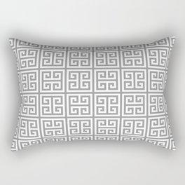 Greek Key pattern - Greek fret design , grey, white Rectangular Pillow