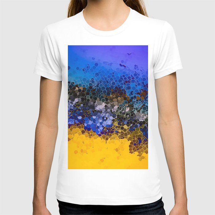 Blue and Summer Gold Circular Abstract Art T-shirt