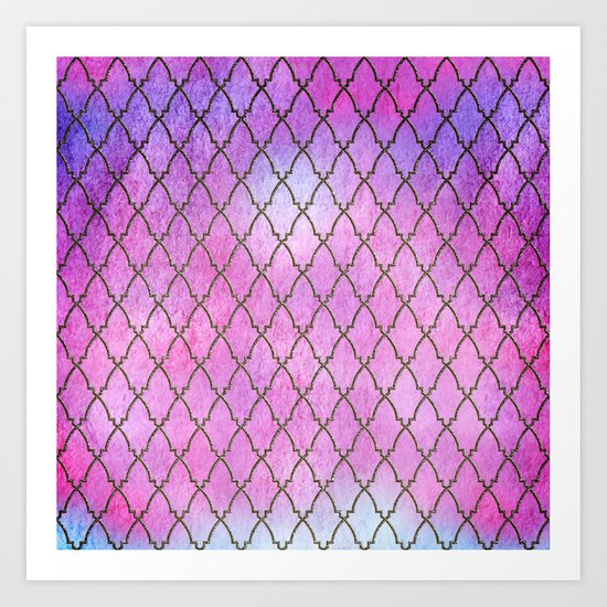 Purple and blue Quatrefoil with Gold Frame- Elegant Morrocan Watercolor Pattern Art Print