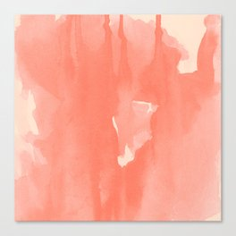 Flow : Abstract living coral ink splashes on cream background Canvas Print