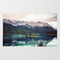 Green Blue Lake and Mountains - Eibsee, Germany Rug