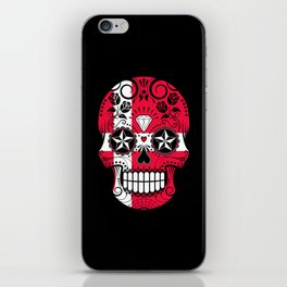 Sugar Skull with Roses and Flag of Denmark iPhone Skin