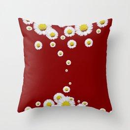 WHITE CASCADING DAISIES ON BURGUNDY Throw Pillow