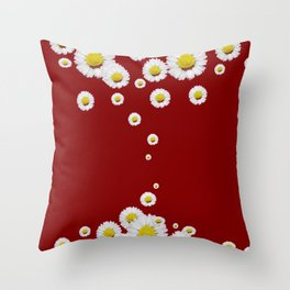 WHITE CASCADING DAISIES ON BURGUNDY Throw Pillow