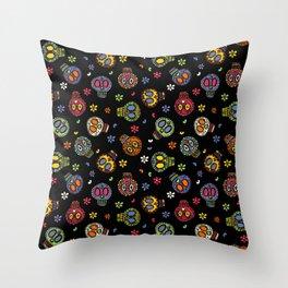 Sugar Skulls on Black Throw Pillow