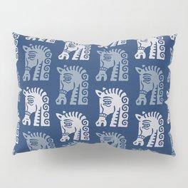 Mid Century Horse Pattern Blues Pillow Sham