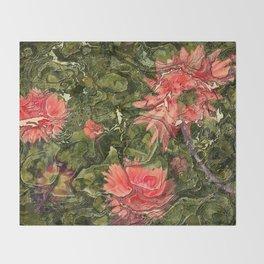 Pink flowers by Lika Ramati Throw Blanket