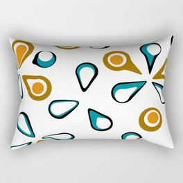 Blue, Orange, Brown, and White Flower Design Rectangular Pillow