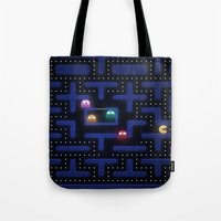 pacman Tote Bags featuring Pacman by Foxxya
