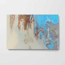 Fluid Art Acrylic Painting, Pour 27, Brown, Tan & Blue Blended Color Metal Print