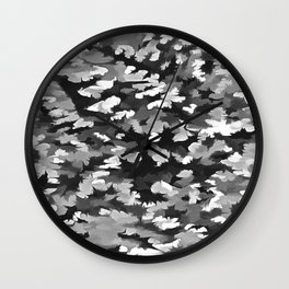 Foliage Abstract Pop Art In Monotone Black and White Wall Clock