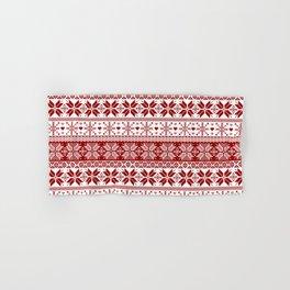 Red Winter Fair Isle Pattern Hand & Bath Towel
