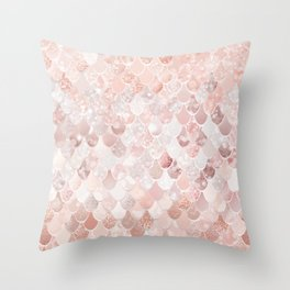 Mermaid Scales Pattern, Blush Pink and Rose Gold Throw Pillow