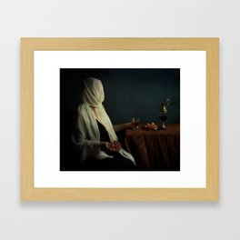 Lady justice with  pomegranate Framed Art Print