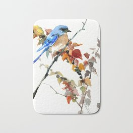 Bluebird on Fall Tree Bath Mat