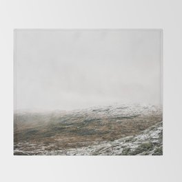 White winter mountain landscape | Norway travel photography print | Trolltunga Wanderlust art Throw Blanket