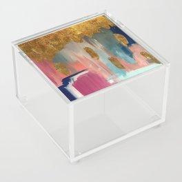 Gold Leaf & Indigo Blue Abstract Acrylic Box