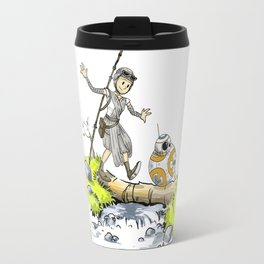 Bb8 and Rey Crossover Calvin and Hobbes Travel Mug