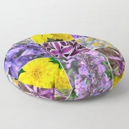 Purple Yellow Flower Quad Floor Pillow