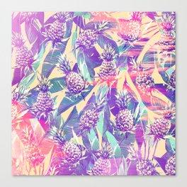 Trendy tropical pink violet pineapple banana leaves Canvas Print