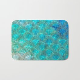 Sea Ocean Waves effect- Gold and Aqua Scales Pattern Bath Mat