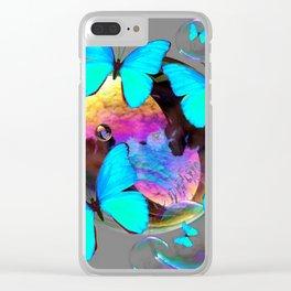 SURREAL NEON BLUE BUTTERFLIES  & SOAP BUBBLES GREY Clear iPhone Case