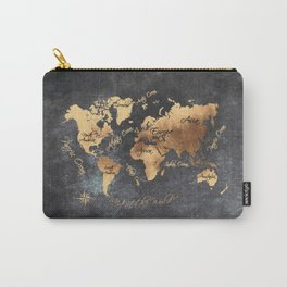 world map 147 gold black #worldmap #map Carry-All Pouch