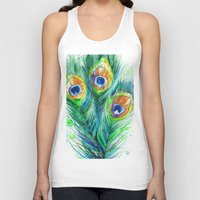 peacock feather Tank Tops featuring Peacock feather  by Slaveika Aladjova